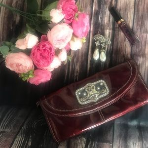 👑 Kathy Van Zeeland crown clutch purse wallet 👜